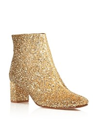 Kate Spade New York Tal Glitter Mid Heel Booties Gold