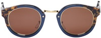 Super Navy And Brown Print Panama Costiera Sunglasses