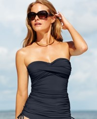 Anne Cole Twist Front Ruched Tankini Top Women's Swimsuit