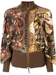 Jean Paul Gaultier Vintage Ribbed Detail Printed Jacket Brown