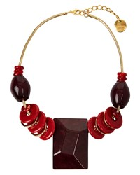 Jaeger Sarah Large Stone Necklace Red
