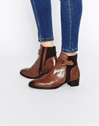 Ravel Buckle Strap Leather Chelsea Boots Brown