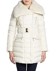Dawn Levy Rabbit Fur Trimmed Belted Down Jacket
