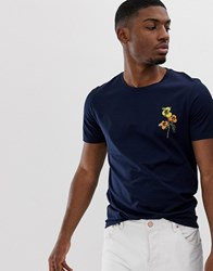 Selected Homme T Shirt With Floral Embroidery Navy