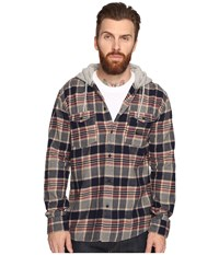 Quiksilver Fellow Player Hooded Woven Button Up Flannel Navy Men's Clothing