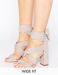Lost Ink Wide Fit Grey Knot Tie Up Heeled Sandals Grey