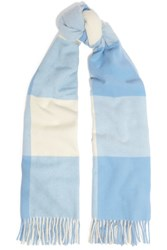 Acne Studios Vichy Fringed Checked Wool Scarf Sky Blue