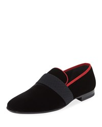 Magnanni Velvet Formal Loafer Slipper Black