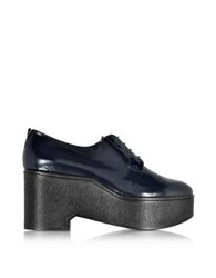 Robert Clergerie Xonca Marine Blue Patent Leather Platform Oxford Shoe Dark Blue