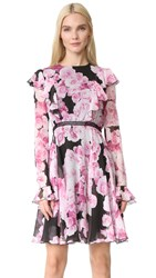Giambattista Valli Long Sleeve Dress Black Pink