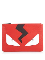 Fendi Bag Bugs Leather Pouch Red Multi