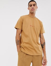 Mennace Oversized T Shirt In Tobacco With Script Logo Stone