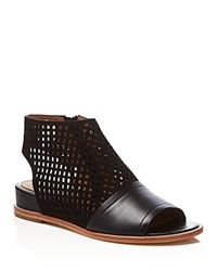 Elie Tahari Venice Lasercut Open Toe Wedge Booties Black