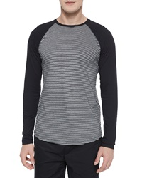 Vince Feeder Stripe Long Sleeve Baseball Tee Gray Black
