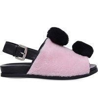 Minna Parikka Teddy Leather And Faux Fur Sandals Pale Pink