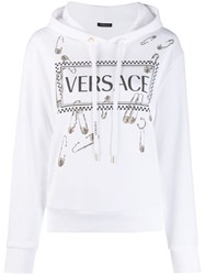 Versace Logo Safety Pin Hoodie White