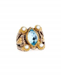 Konstantino Amphitrite Marquise Topaz And Pearl Statement Ring Blue
