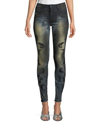 Robin's Jeans Gothic Embroidered Skinny Blue