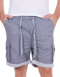 William Rast Linen Blend Roll Cuff Shorts Grey