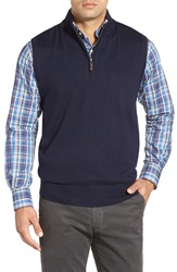 Peter Millar Quarter Zip Merino Wool Vest Navy