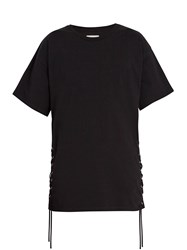 Faith Connexion Lace Up Cotton Jersey T Shirt Black