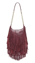 Monserat De Lucca Bochoa Fringe Shoulder Bag Plum