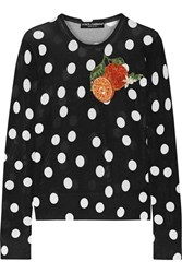 Dolce And Gabbana Appliqued Polka Dot Silk Sweater Black