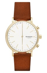 Skagen Women's Hald Hybrid Leather Strap Smart Watch 40Mm Brown White Gold