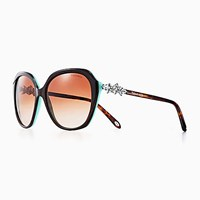 Tiffany And Co. Victoria Square Sunglasses In Tortoise Blue Acetate. Plastic