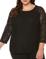 Rafaella Plus Three Quarter Sleeve Lace Accented Tee Black