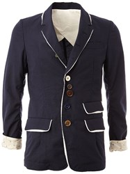 Undercover Asymmetric Button Placket Blazer Blue