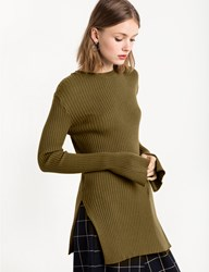 Pixie Market Olive Slit Sleeve Ribbed Top