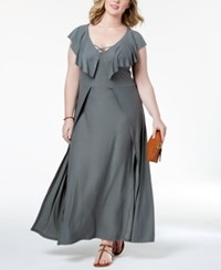 Planet Gold Trendy Plus Size Ruffled Maxi Dress Grey Olive