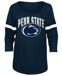 5Th And Ocean Women's Penn State Nittany Lions Stripe Sleeve Sweeper Shirt Navy