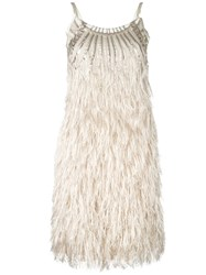 Alberta Ferretti Feather Dress Nude Neutrals