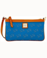 Dooney And Bourke Detroit Lions Large Slim Wristlet Blue
