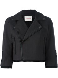 A.F.Vandevorst Cropped Biker Jacket Grey