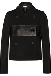 Jil Sander Cropped Leather Paneled Wool Peacoat