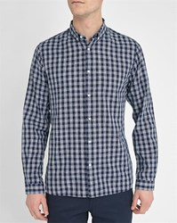 Knowledge Cotton Apparel Navy Checked Button Down Slim Fit Shirt