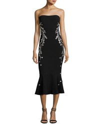 Cinq A Sept Luna Strapless Embroidered Flounce Midi Dress Black Pink Black Pink