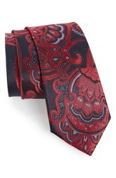 Calibrate Men's Paisley Woven Silk Tie Red