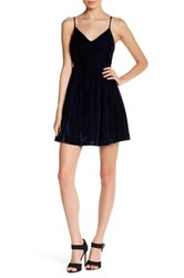 Lucca Couture V Neck Low Back Velvet Dress Blue