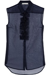 Richard Nicoll Origami Detailed Silk Organza Top Blue
