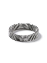 Topman Silver Look Mesh Band Ring