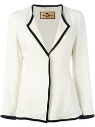 Etro Contrast Piped Trim Blazer Nude And Neutrals