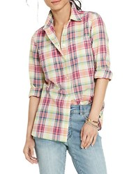 Lauren Ralph Lauren Button Front Plaid Shirt Blue Multi