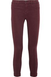 J Brand Anja Cropped Stretch Sateen Skinny Pants Burgundy