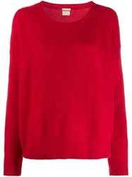 Massimo Alba Draped Cashmere Jumper Red