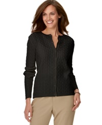 Alfred Dunner Petite Cable Knit Cardigan Black