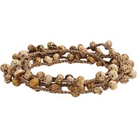 Feathered Soul Men's Jasper Bead And Braided Silk Wrap Bracelet Tan
